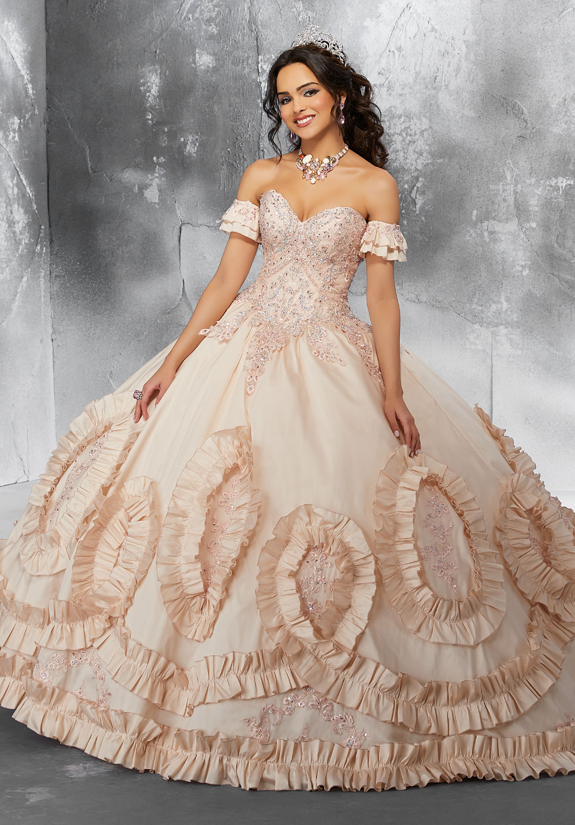 16c470229 BEAD LACE APPLIQUED QUINCEANERA DRESS BY MORI LEE VIZCAYA 89195